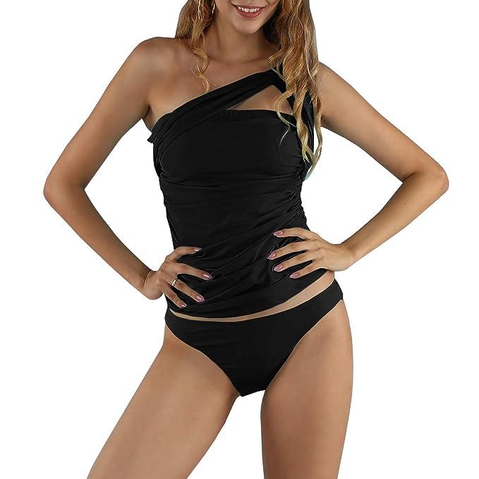 Amazon.com: GAMISOTE traje de baño con un hombro para mujer ...