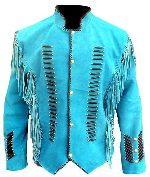 Classyak Hombre Nativo de la India Occidental Suede Chaqueta Flecos y Huesos: Amazon.es: Ropa y accesorios