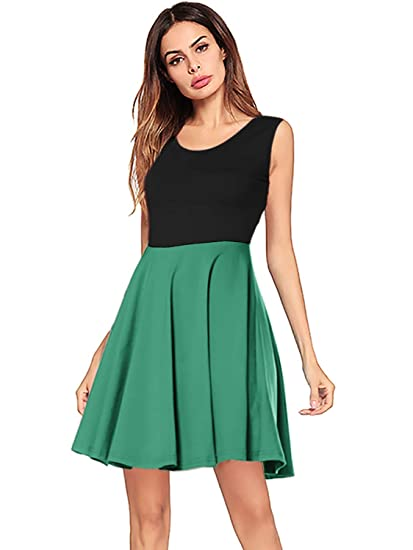 53f54ee833 Amoretu Womens Dresses Round Neck Sleeveless Casual Flared Tank Dress Army  Green S