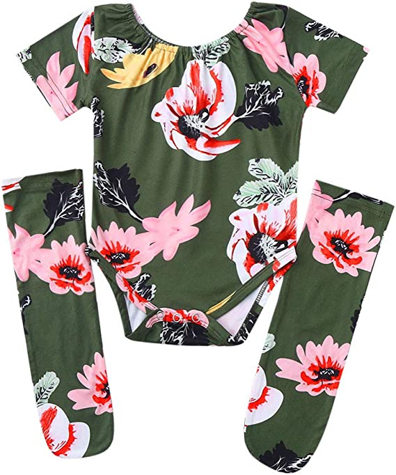Tronet Baby onesie Toddler Baby Girls Long Sleeves Romper Tops+Floral Pants+Headbands Set Outfits