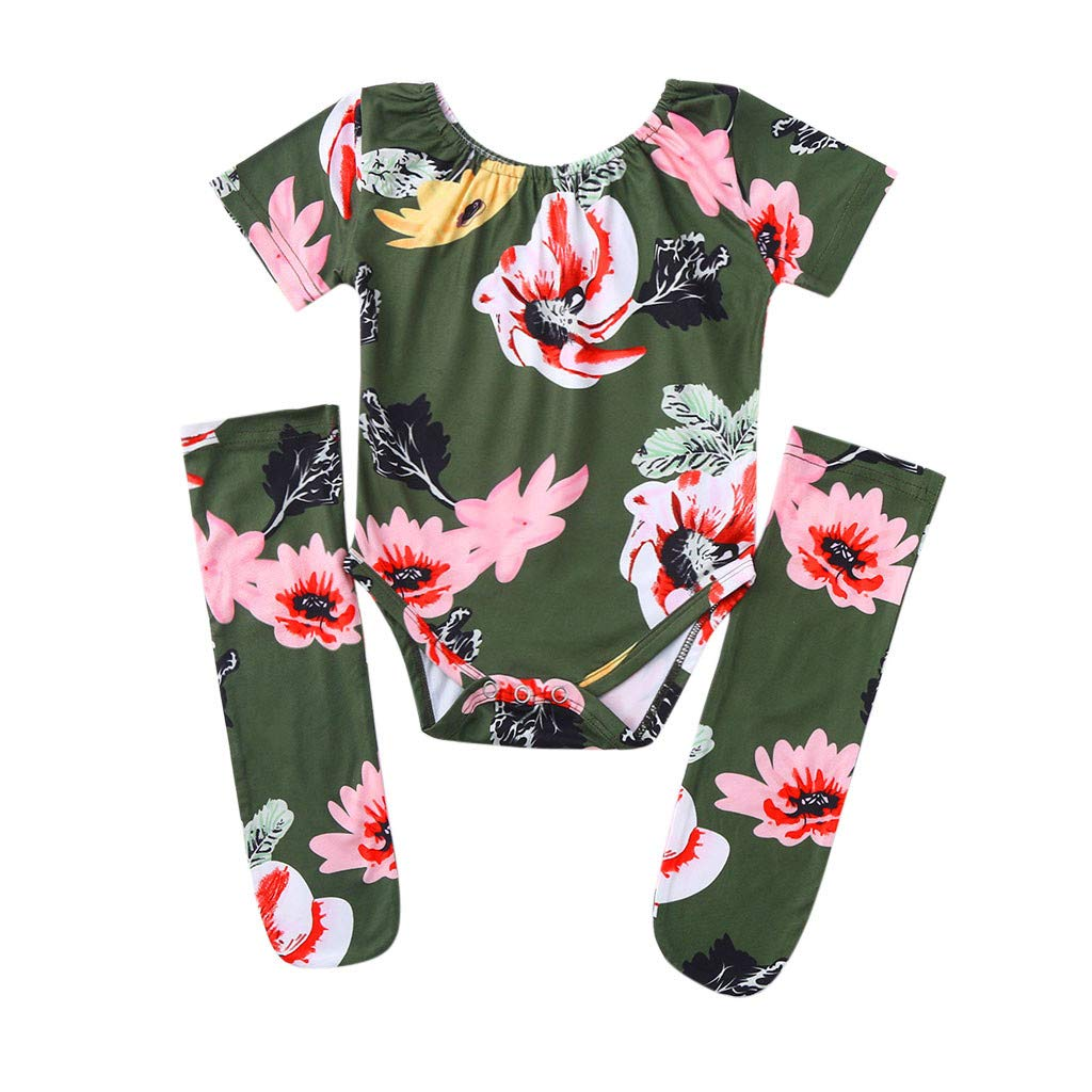 HANANei 3PCS Baby Girl Floral Romper+Stockings Set Newborn Bodysuit Clothes Outfit 0-18M (90, Green)