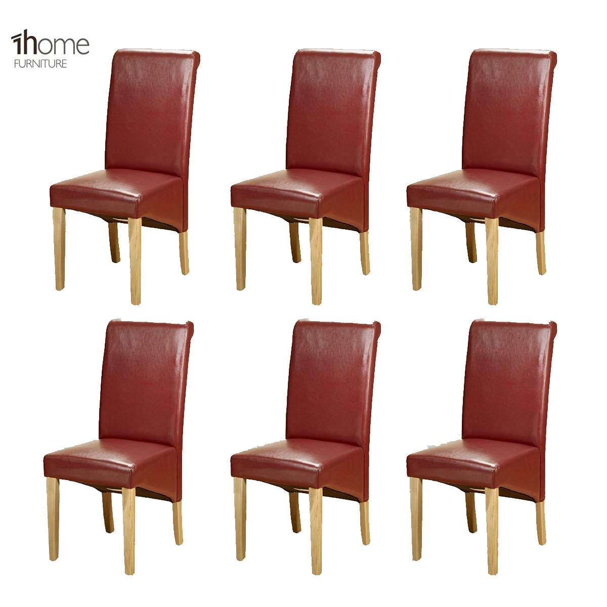 1home 6 x leather red dining chair w oak finish wood legs roll top high back amazon co uk kitchen home