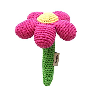 Cheengoo Sustainable Organic Bamboo Hand Crocheted Stick Rattle - Magenta: Toys & Games
