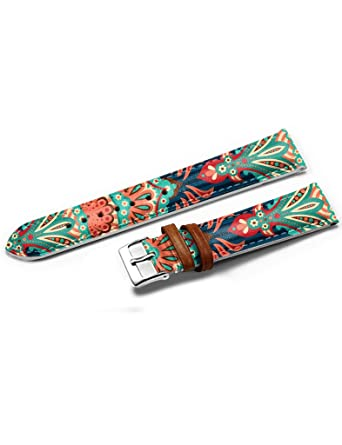 icreat mens genuine leather watch strap band stainless steel icreat mens genuine leather watch strap band stainless steel buckle aztec pattern ethnic elegance
