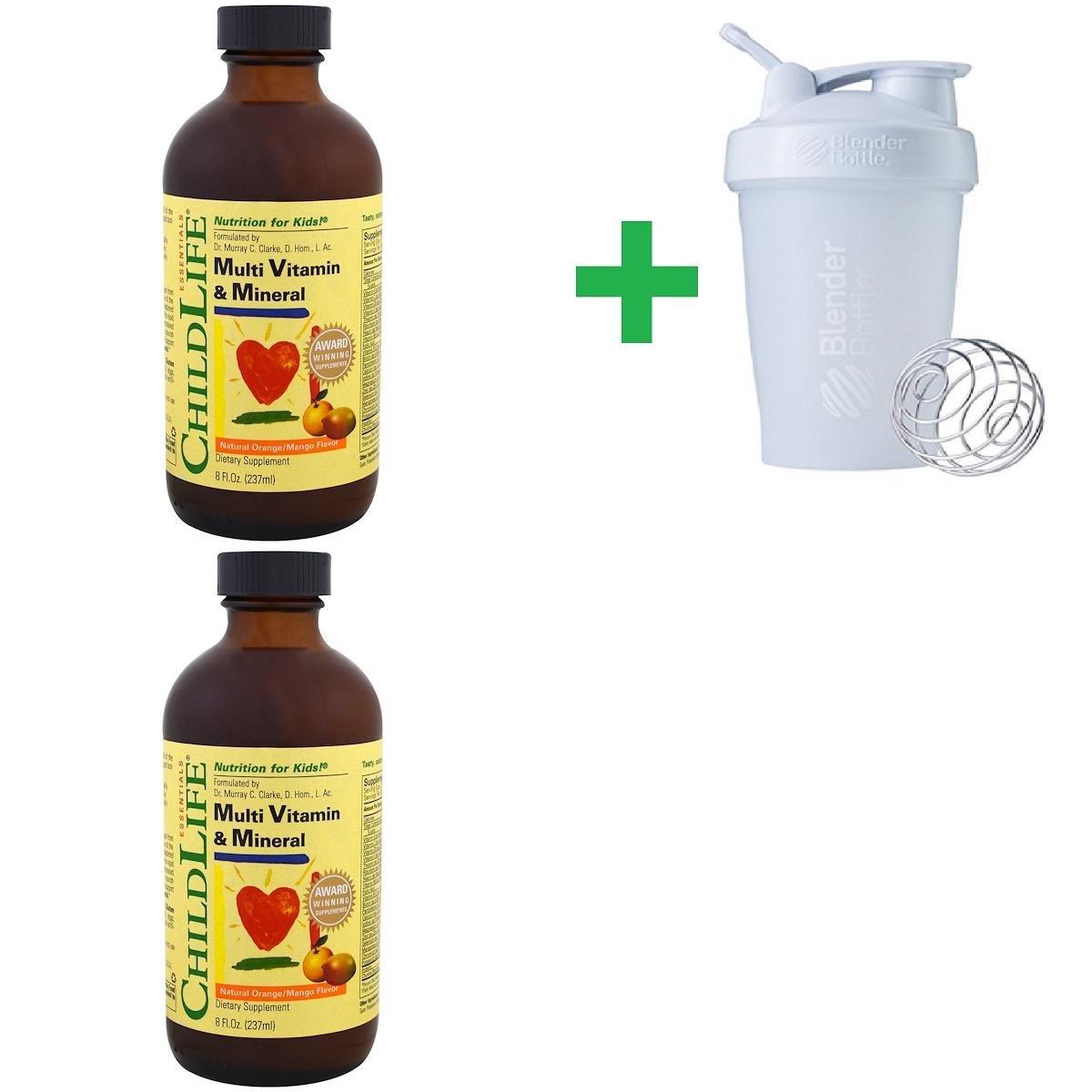 ChildLife, Essentials, Multi Vitamin & Mineral, Natural Orange/Mango Flavor, 8 fl oz (237 ml) (2 PACKS) + Assorted Sundesa, BlenderBottle, Classic With Loop, 20 oz
