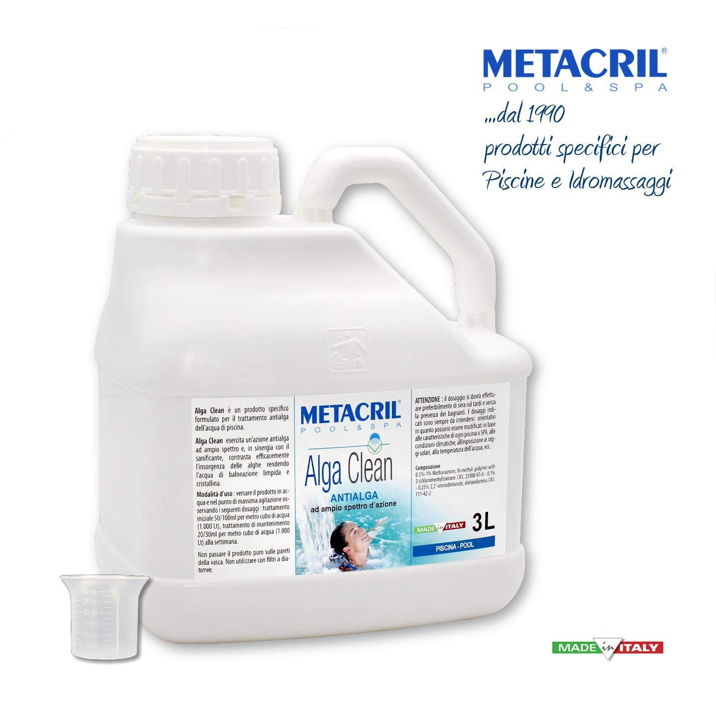 Metacril Antialgas Piscina + dosificador Graduado. Alga Clean 3 l ...