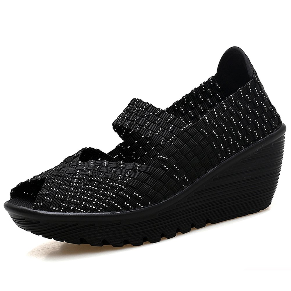 HKR-559heiyin39 Women Mary Jane Platform Wedges Sandals Summer Comfort Woven Shoes Black Silver 8 B(M) US