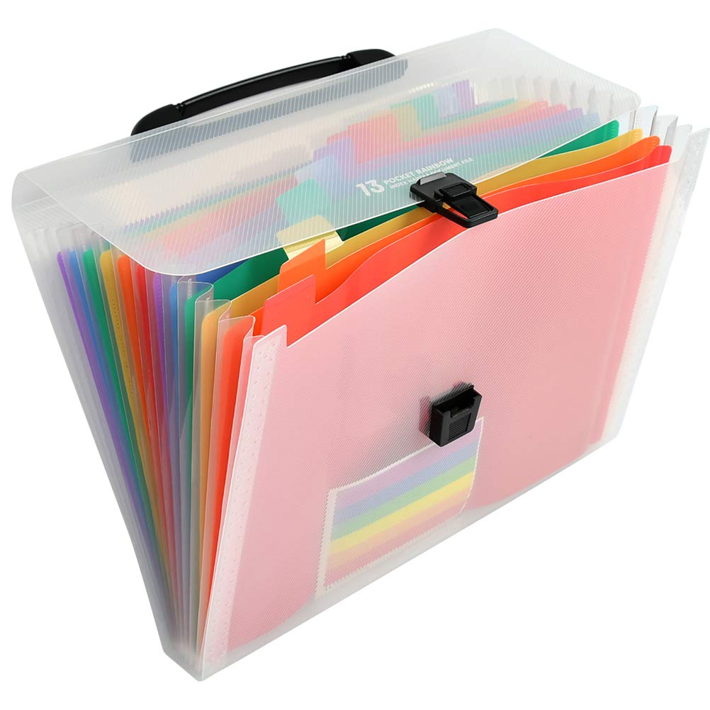A4 File Organizer for School Business Offi Letter Size Portable Document Holder YOTINO Large Capacity Expanding File Folders 13 Pockets Plastic Expanding Accordion Folders with Small Colored Labels