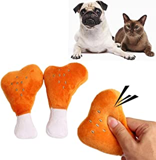 takestop® Plush Soft Chicken Thigh Toy with Squeaker in Fabric for Dogs Chewing Bite Teeth Animals