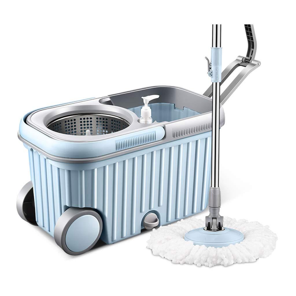 フロアモップ 石鹸ディスペンサー82-120cmが付いている回転式モップの世帯の自動手の洗浄自由なモップの青いぬれたそして乾燥したステンレス鋼が付いている二重バケツの乾いた回転モップ B07NVBMLTH