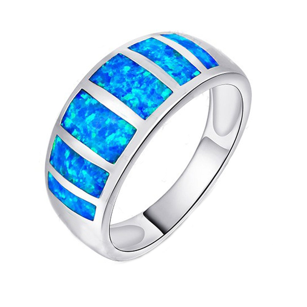 Opal Ring Women Lady Rings Blue Opal 925 Sterling Silver Wedding Party Engagement Love Ring R158 Garilina