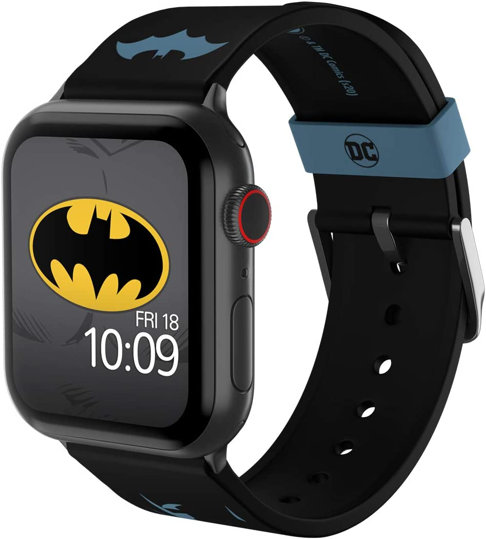DC Comics - Batman Modern Comic Edition – Officially Licensed Silicone Smartwatch Band Compatible with Apple Watch, Fits 38mm, 40mm, 42mm and 44mm