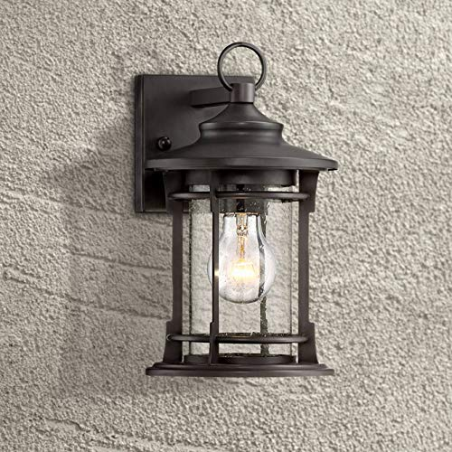 Grenville Farmhouse Outdoor Wall Light Fixture Bronze Cage 11