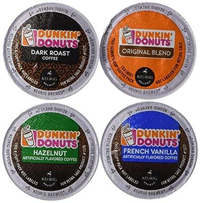 Dunkin Donut Coffee Variety K Cups for Keurig K-Cup Brewers and 2.0 Brewers - Original Blend, Dark Roast, Hazelnut, French Vanilla