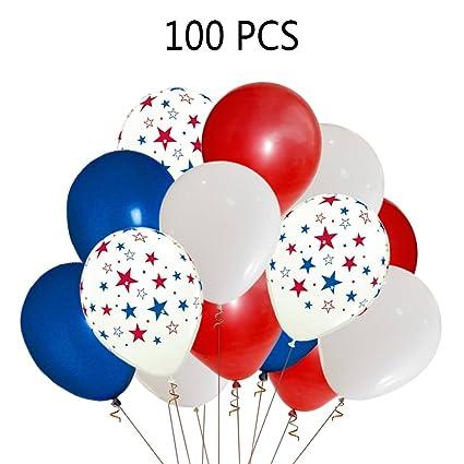 Amazon.com: Patriotic Decorations Star Latex Balloons - Red Blue ...
