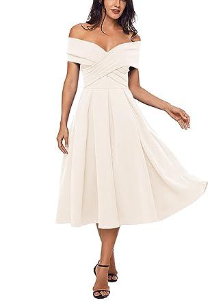 e9e0d17d08c8 PearlBridal Women s V-Neck Off-Shoulder Tea Length Prom Dresses Satin Party  Gown Beige