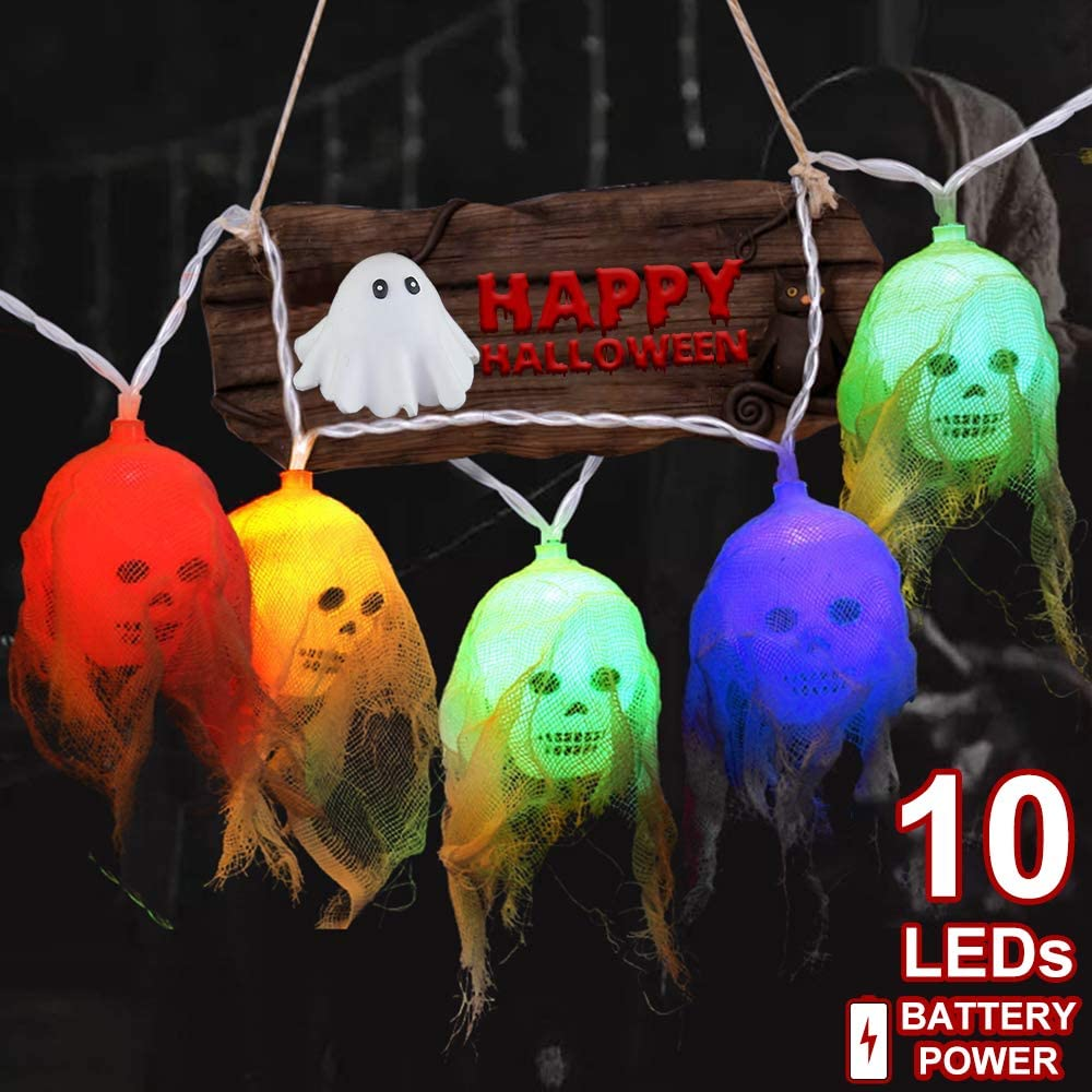 Halloween Skeleton Skull Lights Decorations, 10 LEDs Halloween String Lights for Indoor/Outdoor Decoration, Spooky Halloween Lights Party Supplies Home Decor Battery Operated (Colorful)