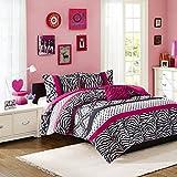 Mi-Zone Reagan Comforter Set King/Cal King Size - Pink, Zebra Polka Dot – 4 Piece Bed Sets – Ultra Soft Microfiber Teen Bedding for Girls Bedroom