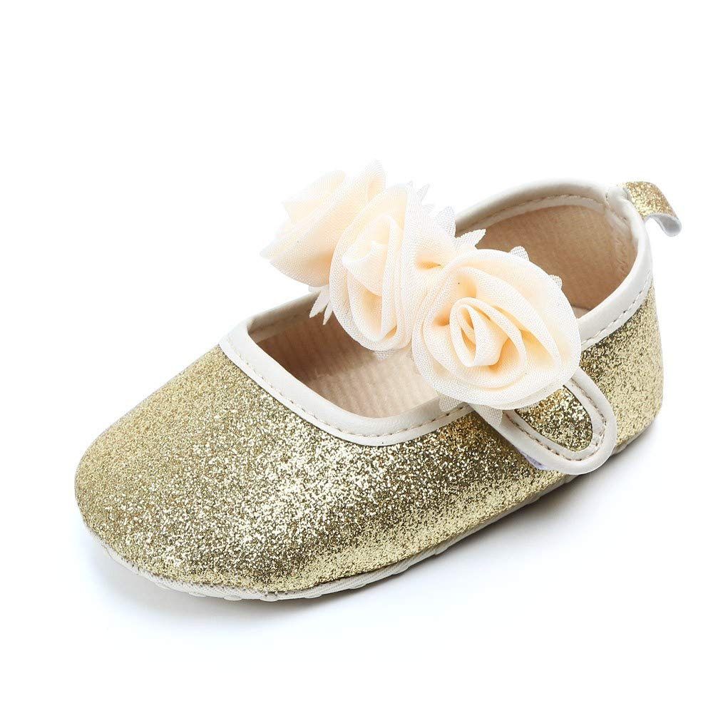 NUWFOR  Newborn Toddler Baby Girls Floral Bling First Walkers Soft Sole Shoes(Gold,6-9Months)
