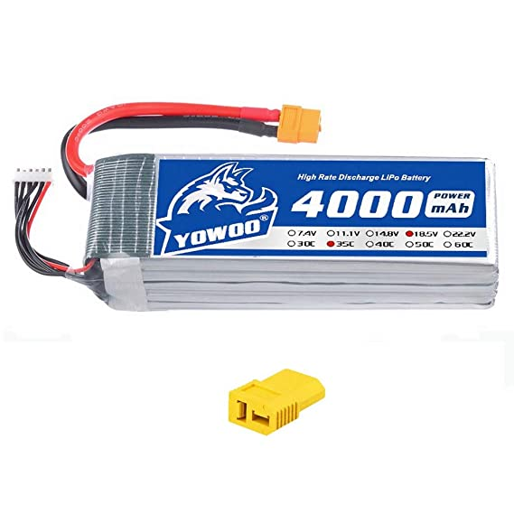 YOWOO 18 5V Lipo Battery 4000mAh 35C 5S RC Lipo Batteries Pack with XT60  and Deans Connectors for RC Airplane Helicopter Car Truck Boat UAV Drone  FPV