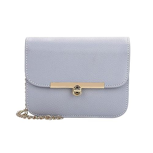 69af25cd4b Amlaiworld Donna ragazze metallo catena borsa a tracolla pu pelle piccola  borsetta (cielo blu)