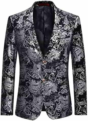 0876df09f Men's Dress Floral Suit Notched Lapel Slim Fit Stylish Blazer Dress Suit