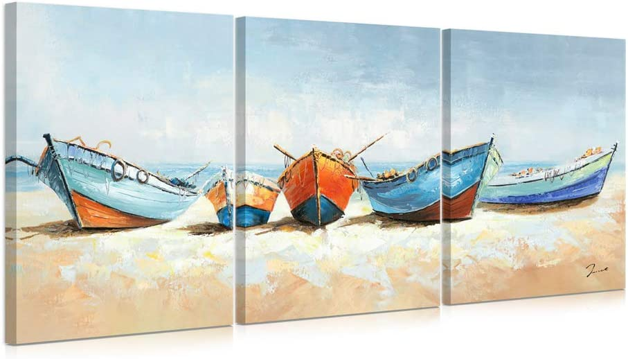 B BLINGBLING Boat Canvas Wall Art: Colorful Fishing Boat on The Sand Beach Bathroom Pictures Wall Decor with Frame and Ready to Hang (12