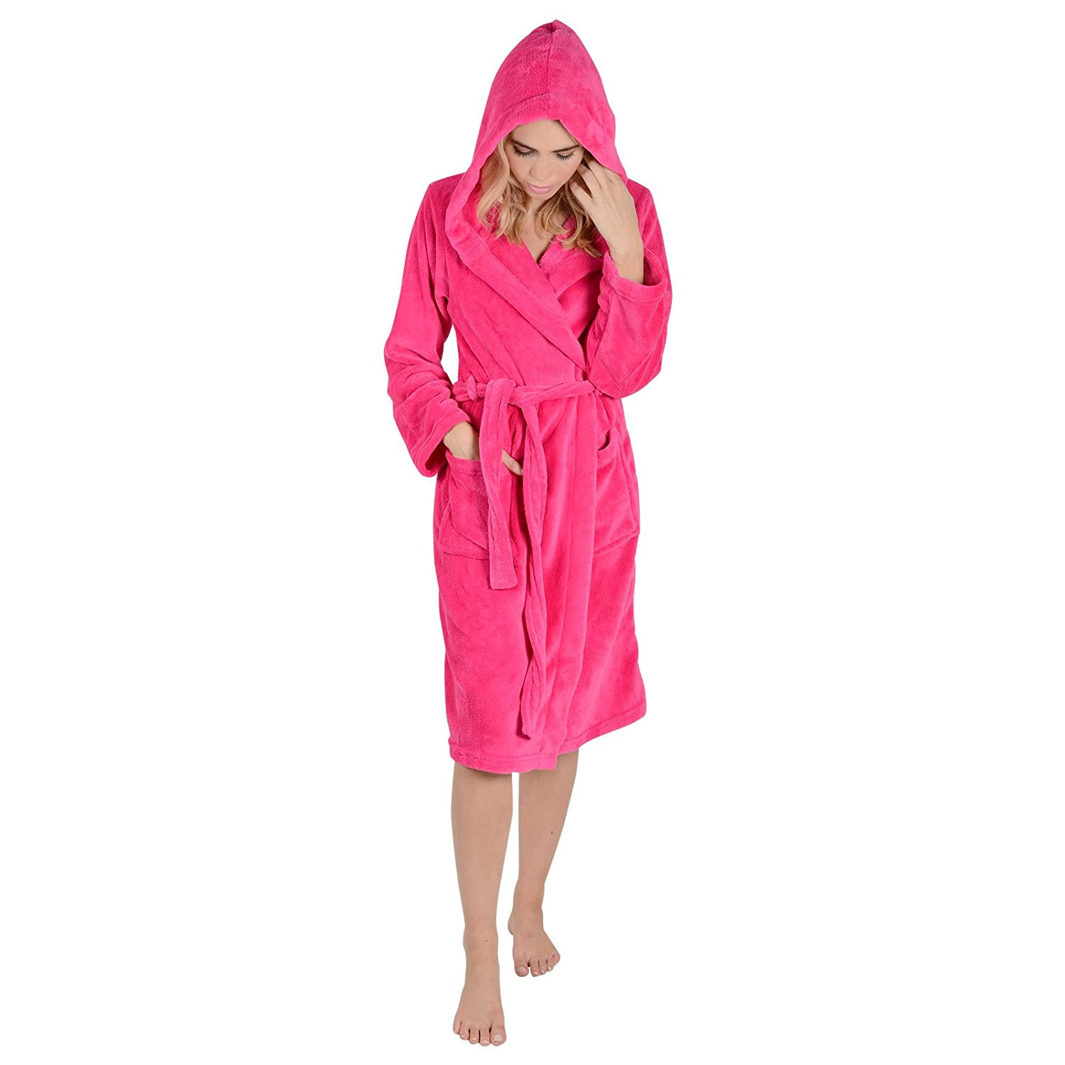 e312b2c69bc Ladies Coral Fleece Super Soft Thick Luxurious Bath Robe With Hood Dressing  Gown Wrap Housecoat Bathrobe  Amazon.co.uk  Clothing