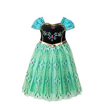 650c1b616 MissFox Traje Princesa Anna Frozen Vestido Para Niña 100CM Corto   Amazon.es  Juguetes y juegos