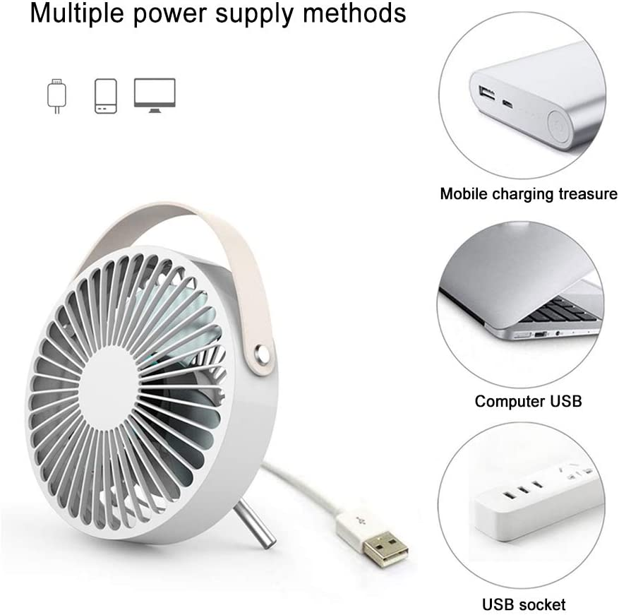 Powerful Portable Fan with PU Leather Handle for Office Home Work Desk Easy to Clean Mini Table Fan with 3 Blade Quiet Office Desktop Fan USB Fan White Desk Fan Small Personal Fan