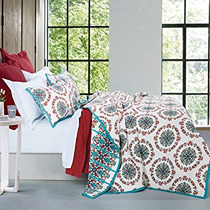 Image of Home and Kitchen HiEnd Accents Sonora Reversible Cottage Quilt Set, Twin, Ivory, Turquoise & Red