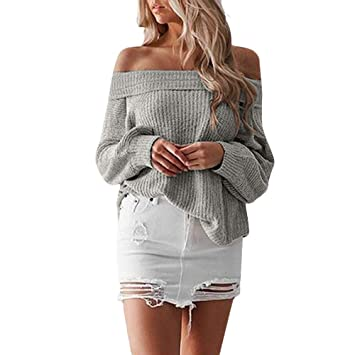 Youngh New Womens Sweatshirt Off Shouder Solid Loose Long Sleeve Fit Knit Casual Winter Pullovers Sweater