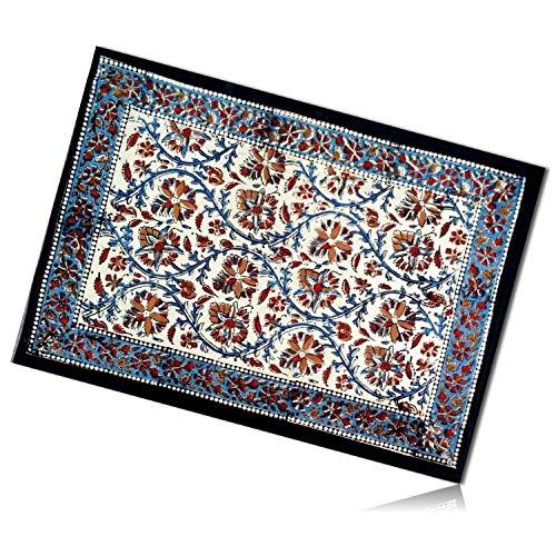 mySimpleProduct.Shop Blue, Orange & Blue Rectangle Vintage Garden Kalamkari Floral Flower Pattern Patterned Plant Vine Border Tapestry Table Placemats Made of 100% Cotton [1 Unit] + Certificate