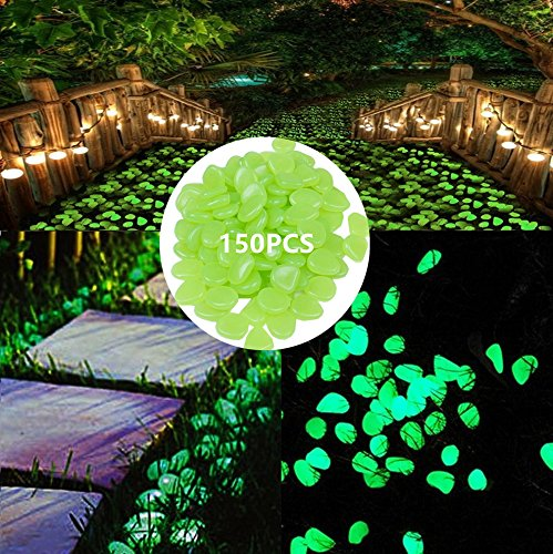 Halloween Stepping Stones (150pcs Glow in the Dark Garden Pebbles for Walkways and Decor ()