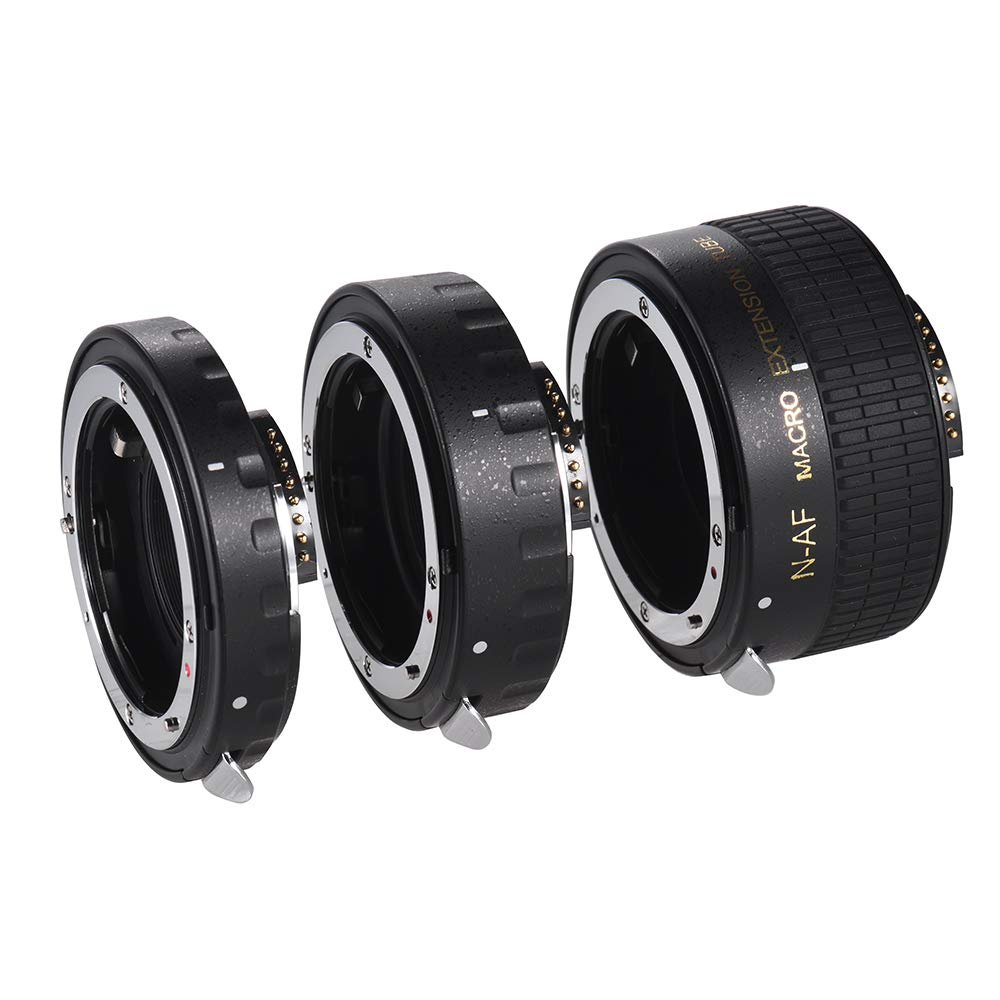 Andoer Auto Focus Macro Extension Tube Set Copper AF Macro Lens Extension Tube Ring with Covers for Nikon D300 D7000 D7100 D7200 D800 D810 D850 D5500 D5600 D5100 D5300 D3300AL Lenses