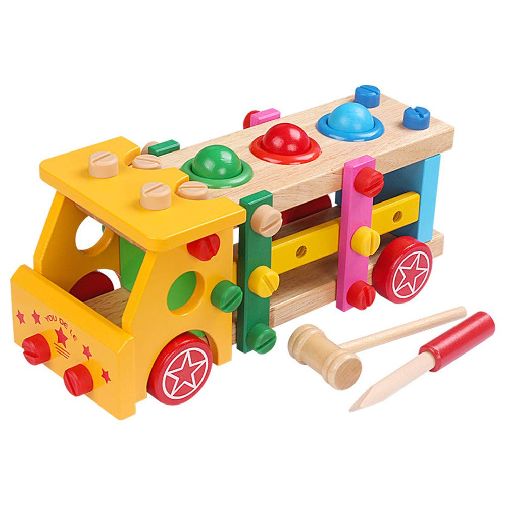 TechCode Developmental Toy Boys, Lovely Color Multifunctional Educational Wooden Toy Disassembly Screw Nut Vehicle Car Knock Ball Developmental Baby Puzzle Toys Gift Learning Toy Set