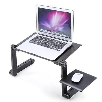 GOTOTOP 360°Ajustable Mesa Plegable para Ordenador Portátil Escritorio Portátil para Computadora Soporte para Desayunar en Cama con Bandeja de Ratón ...
