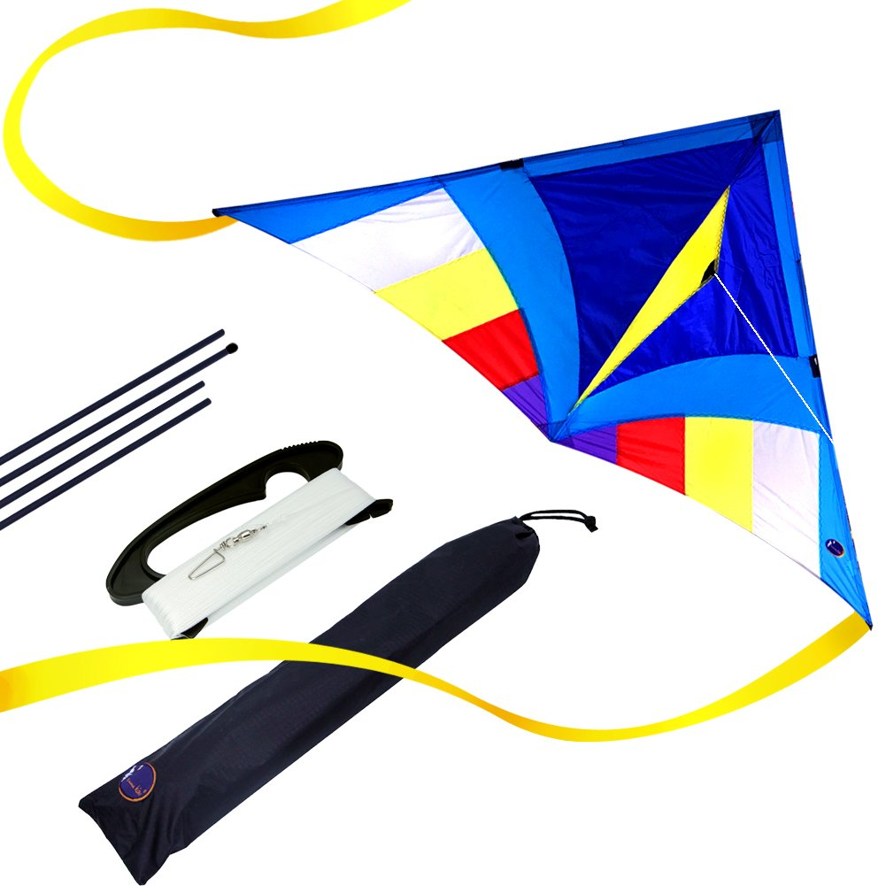 Emmakites - Aquilone dal volo ultra facile - Aquilone delta arcobaleno Miss Sora da 1,5 metri - Kit RTF con doppia coda e 100 m di corda - Oggetto adorabile ideale per principianti, bambini e adulti emma kites KT0002