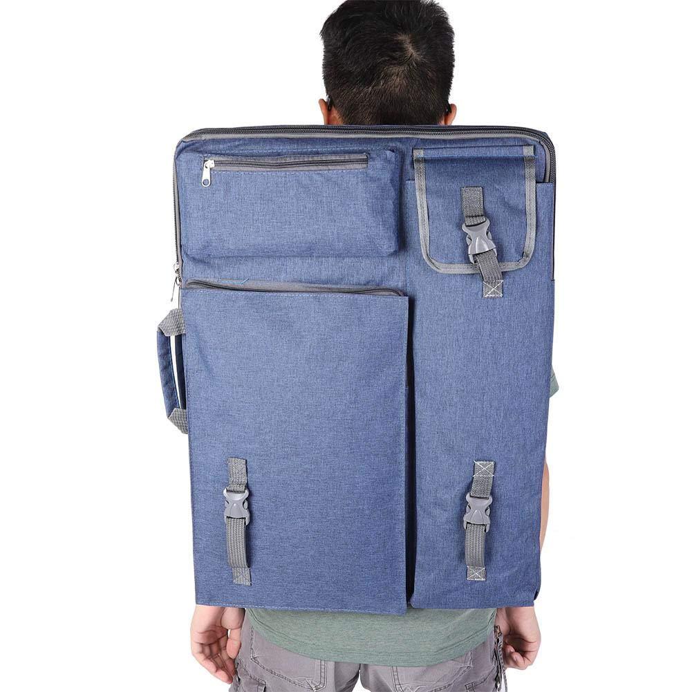 Zaino per Dipingere Blu scuro 4K borsa grande in tela per artisti con molte funzioni 66 x 49 x 6 cm borsa da esterno impermeabile per schizzi per disegnare schizzi di pittura