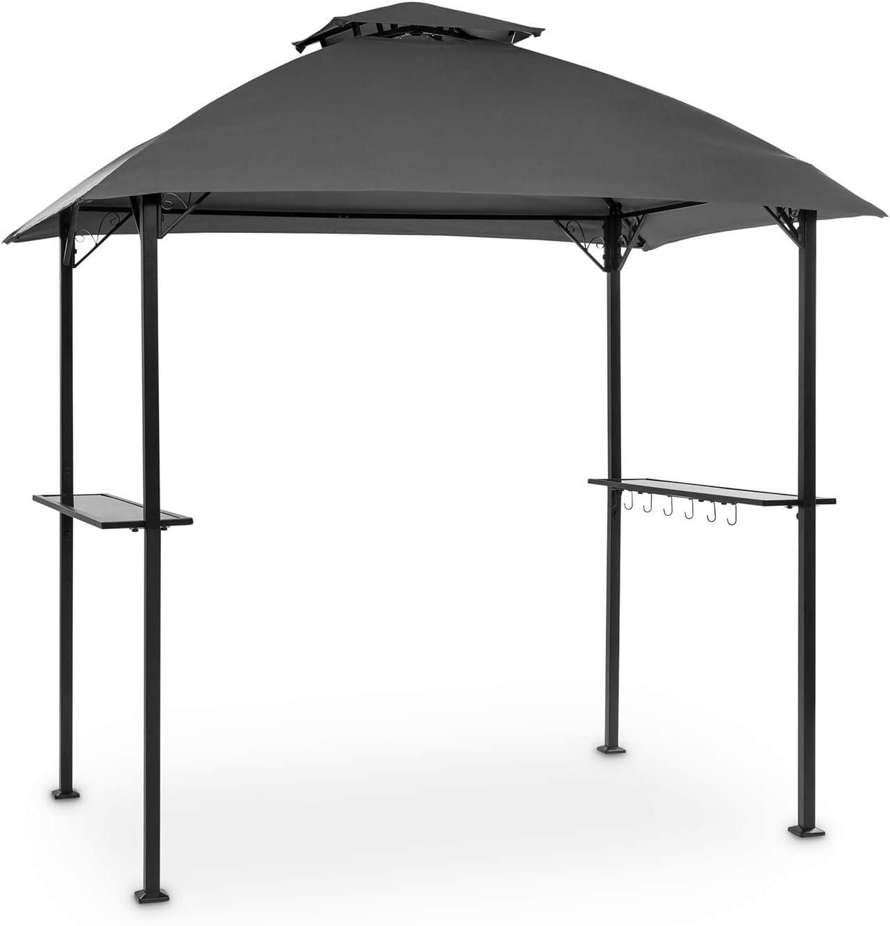 Blumfeldt Steakhouse al Sur pabellón – techo para barbacoas, 244 x 260 x 152 cm, para la lluvia y del sol, poliéster de 160 g impemeable y retarda la ignición, postes de 4 x 4 cm de acero, gris oscuro