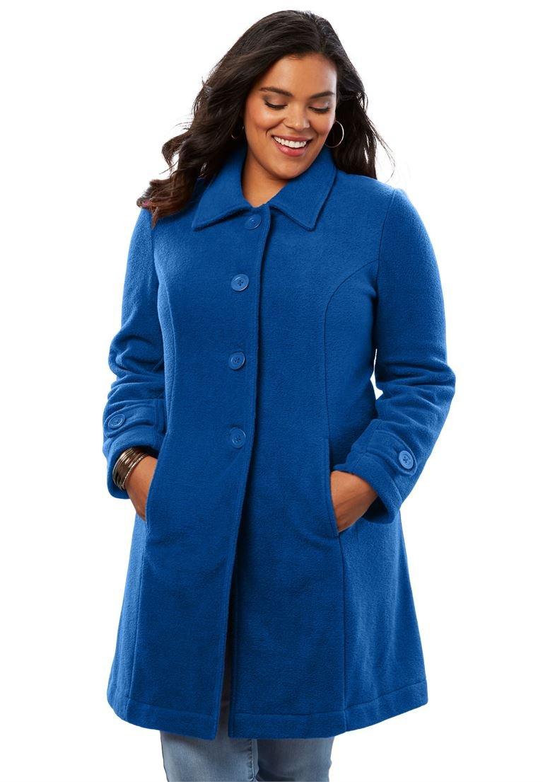Roamans Women's Plus Size Plush Fleece Jacket