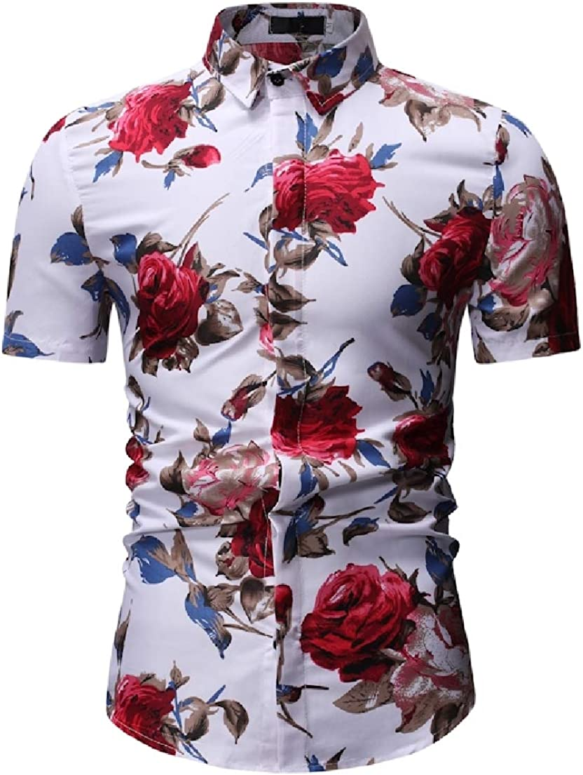 Vska Mens Beachwear Casual Leisure Floral Print Short Sleeve Trim-Fit Dress Shirts
