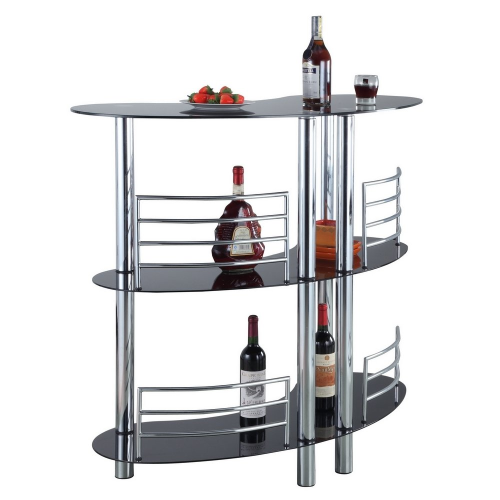 Homegear Contemporary Curved Bar Table P2-J-E (BK-11)-C2