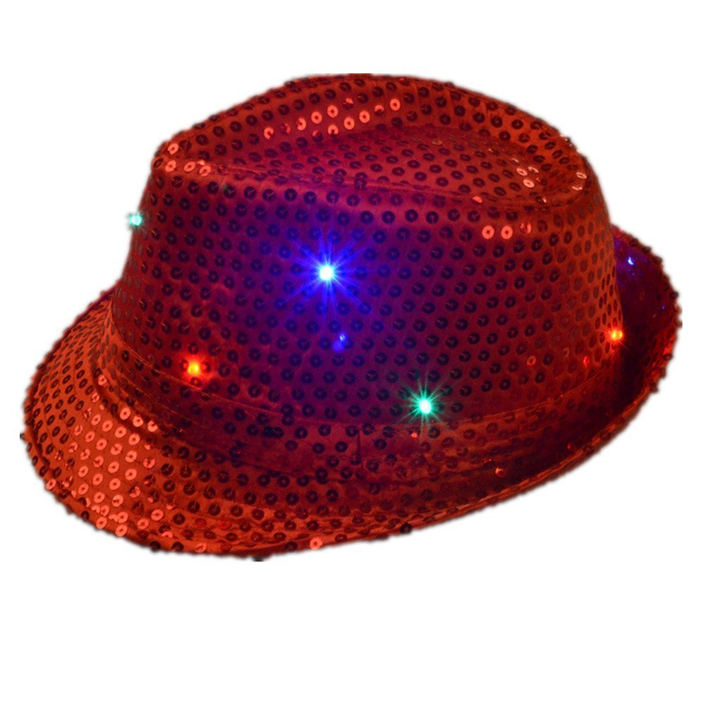 Namsan LED Jazz Hat//Cap Flashing Dance Hat Bright Lighted Light Up Sequin Hat Sequins show Coloful Performing Bling Hats for Party with 9 LED