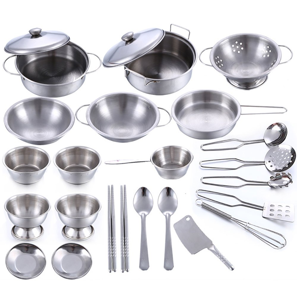 25pcs Stainless Steel Children Kitchen Toys Miniature Cooking Set Simulation Tableware Toy Pretend Play Cook Toy For Kids Gift Amazon In Toys Games