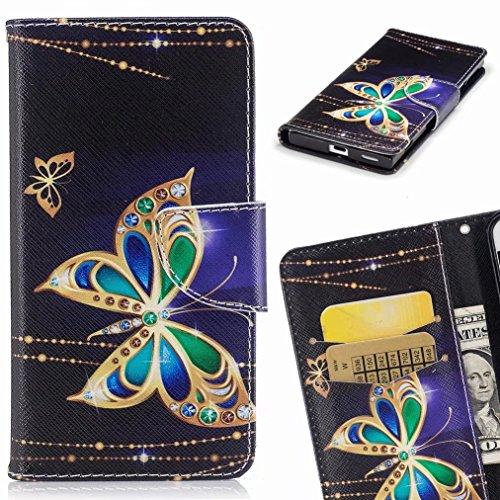 Yiizy Apple IPhone 7 Cover Custodia, Diamante Farfalla Design Silicone Custodia Flip Cover Portafoglio PU Pelle Cuoio Copertura Case Slot Schede Cavalletto Stile Libro Bumper Protettivo Borsa