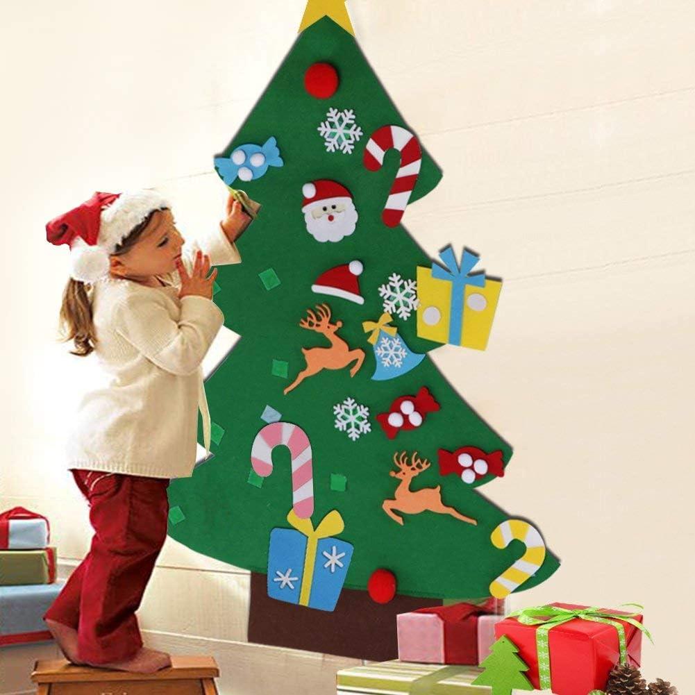 Addobbi Natalizi X Bambini.Bakaji Albero Di Natale Per Bambini In Feltro Da Parete Con 26 Addobbi Natalizi Applicabili Con Velcro Altezza 125 Cm Colore Verde Amazon It Casa E Cucina