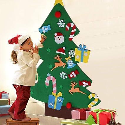 BAKAJI Albero di Natale per Bambini in Feltro da Parete con 26 Addobbi  Natalizi Applicabili con Velcro Altezza 125 cm Colore Verde
