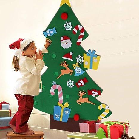 Immagini Addobbi Albero Di Natale.Bakaji Albero Di Natale Per Bambini In Feltro Da Parete Con 26 Addobbi Natalizi Applicabili Con Velcro Altezza 125 Cm Colore Verde