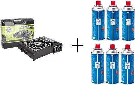 Camping cocina de Gas Estufa Portable Sivitec + 6 x Campingaz CP250 resellable cartucho de Gas